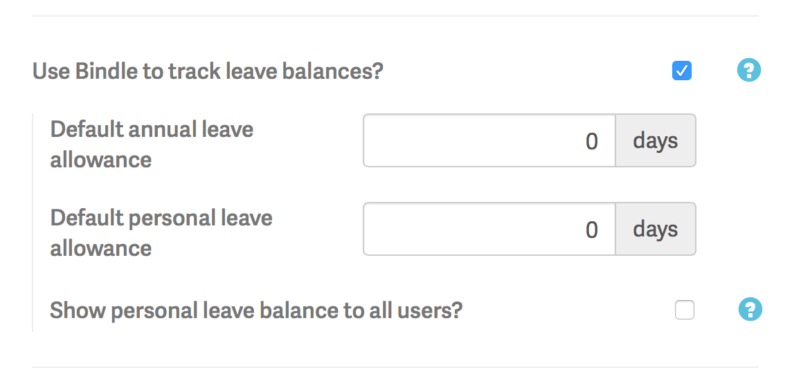 Checkbox to hide personal leave balances