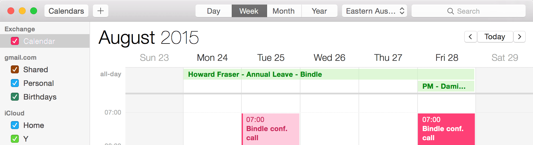 Apple Calendar showing Bindle events